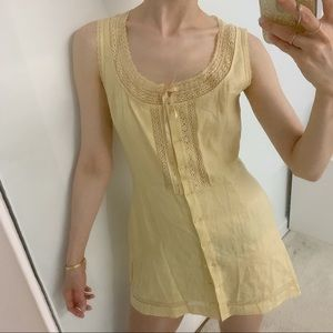 REFORMATION yellow lace linen button down dress 8